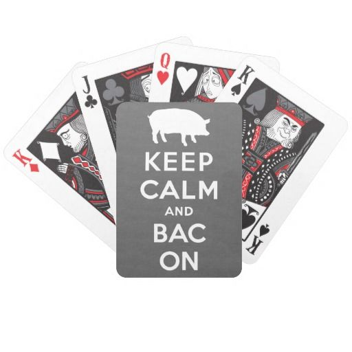 White keep calm and bacon bicycle poker deck