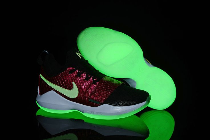 2017-2018 Newest And Cheapest Nike PG 1 Paul George Shoes New Arrival Snakeskin Glow In The Dark Black Green Glow