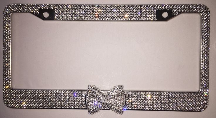 crystal clear silver rhinestone license plate frame with clear bling bow 2 matching screw cap covers car accessory for women and girls by zusooz on