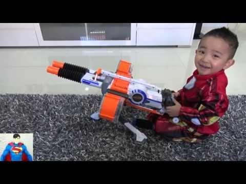 Abrindo e testando o Nerf Rhino-Fire N-Strike Elite a melhor arma para a guerra Nerf