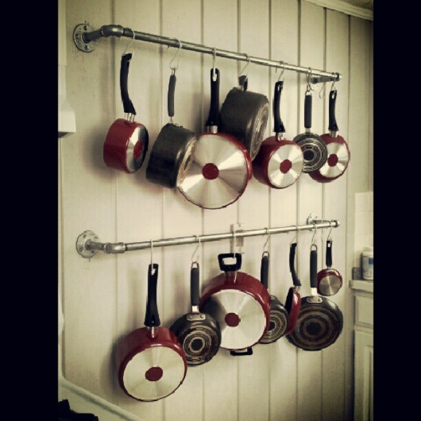Pot Rack Made With Galvanized Pipes Kitchen