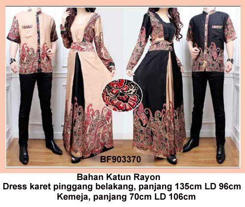 Baju Gamis Modern Terbaru - Detail produk model Gamis Ayah bunda batik 370: Bahan : Katun rayon Kode : BF903370 Ukuran : Dress, panjang baju 135cm LD 96cm Ukuran : Kemeja, panjang 70c