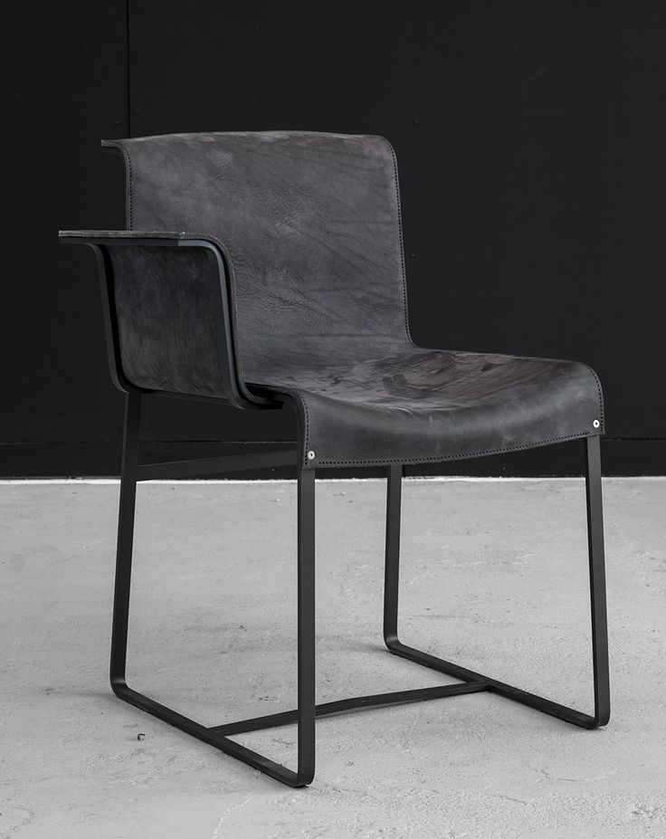 Black leather chair with armrest design  #blackleatherchair - IN STOCK