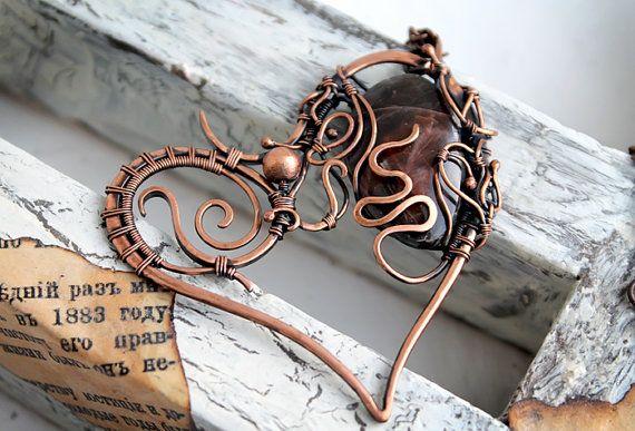 Heart Pendant Wire wrapped Copper Wirewrap by SelenaStyleJewelry