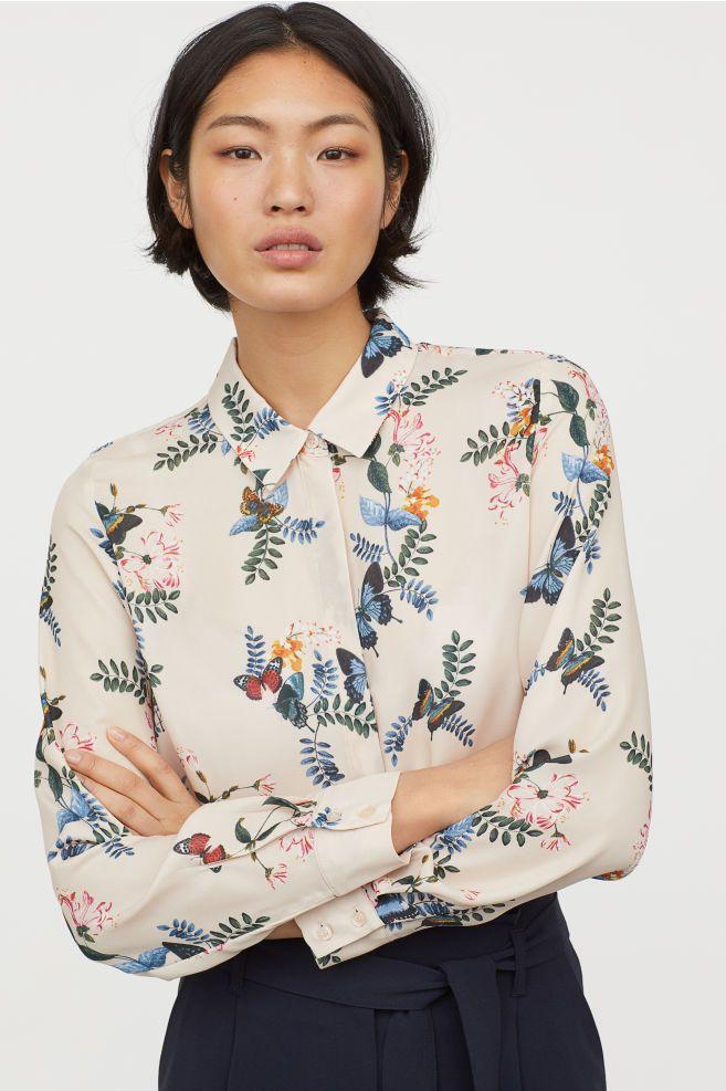 24857d36f5f6d Long-sleeved Blouse - Light beige floral - Ladies
