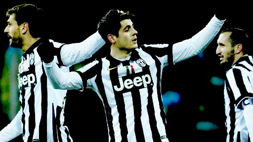 The guys! Cheerful Morata celebrating his goal with Llorente and Chiellini at the 90th minute against Parma.