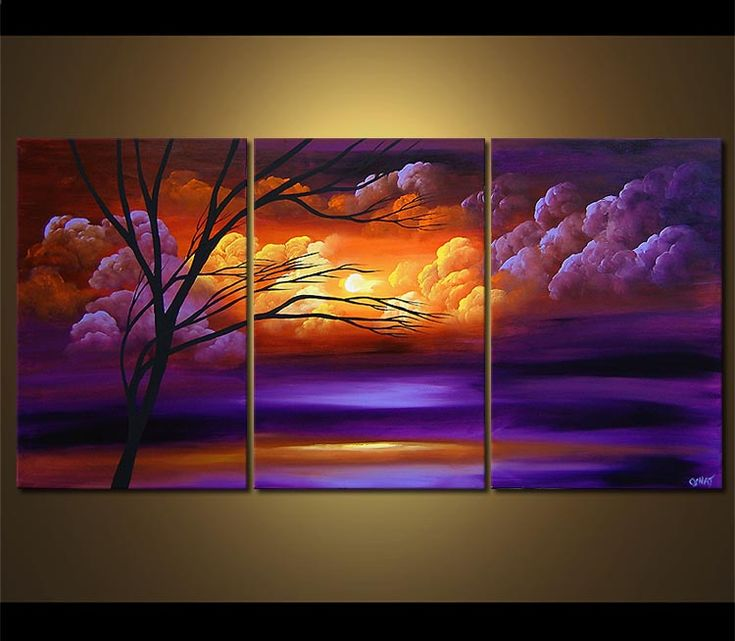 3 Piece Purple Cherry Blossom Muti Panel Abstract Modern: 52 Best Panel Paintings Images On Pinterest