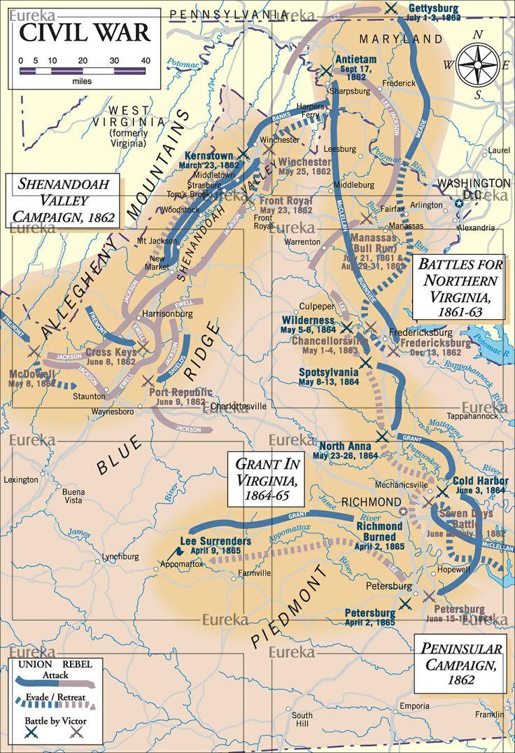 Civil War Battles Virginia Ceureka Cartography Berkeley Ca