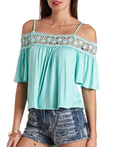 Crochet Trim Cold Shoulder Top: Charlotte Russe.... Love top, hate shorts