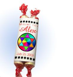 2 smarties with a paper wrapper = Candy Torahs! Can be a favor or place card.