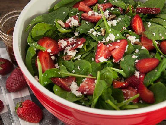 Strawberry Spinach Salad- This healthy salad is bursting with sweet, tangy flavor that will leave you craving more long after its gone - Feasting Not Fasting