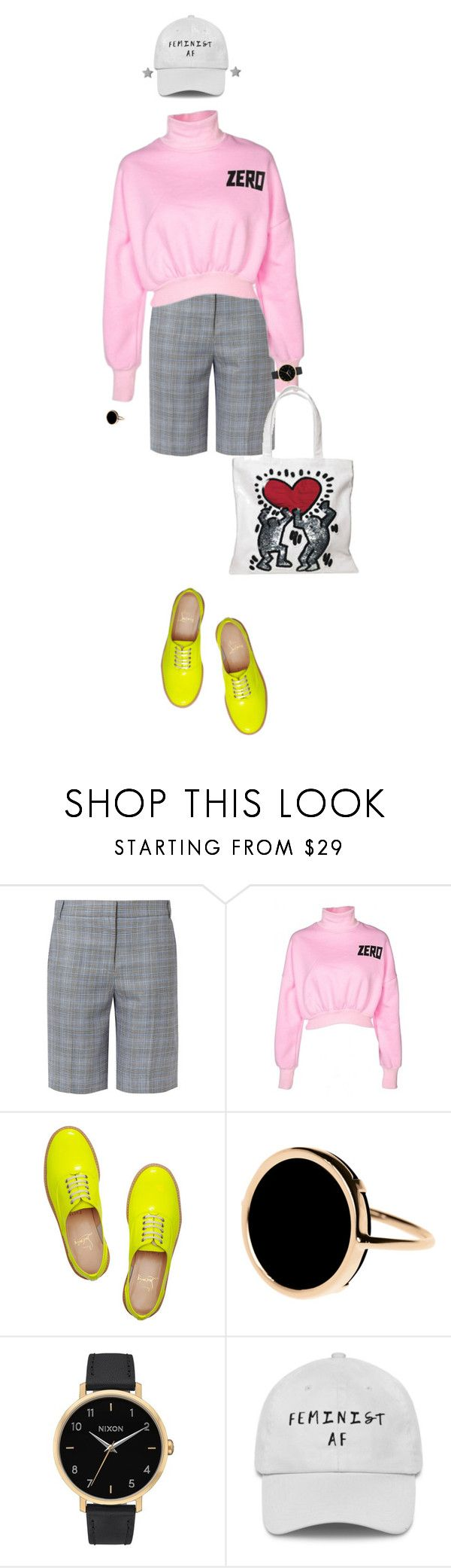 """""""How soon is now?"""" by merryl-key ❤ liked on Polyvore featuring TIBI, WithChic, Christian Louboutin, Ginette NY, Nixon, Gucci, fluro, pinkandgrey and nonbinary"""