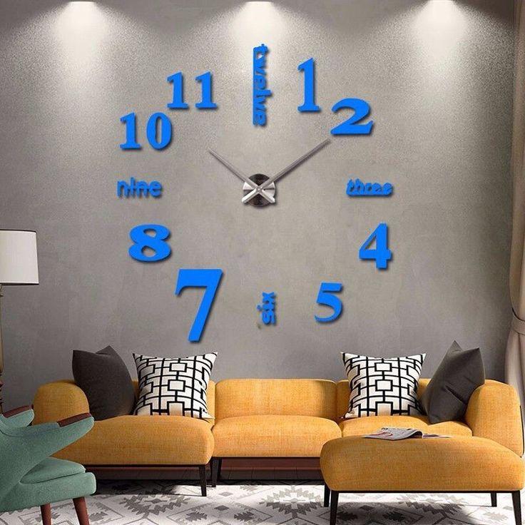 New arrival Quartz clocks fashion watches 3d real big wall clock rushed mirror sticker diy living room decor