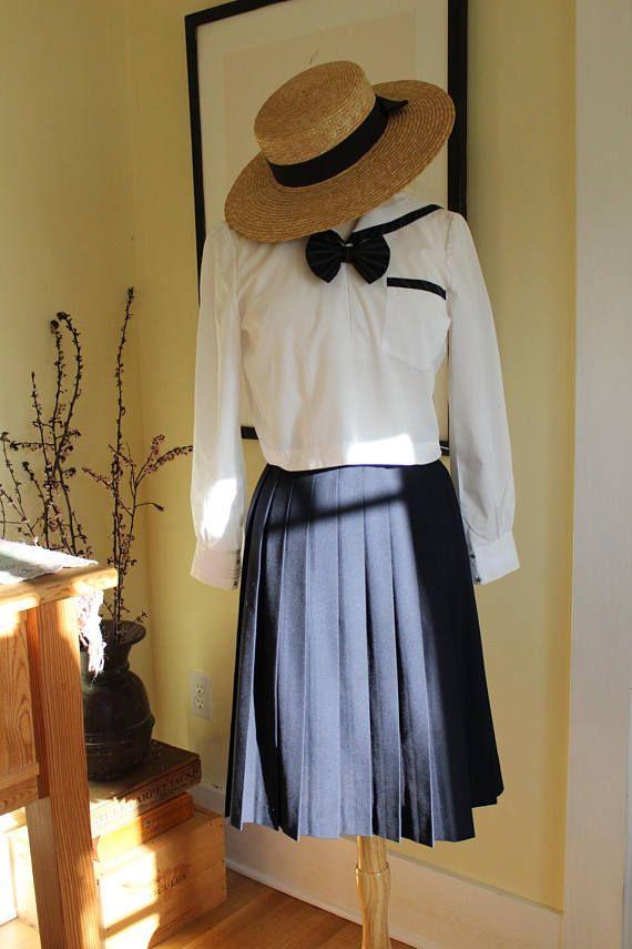 14be7e23fe Navy Blue Permanent Pleated Skirt Adult School Girl Skirt | Kawaii ...