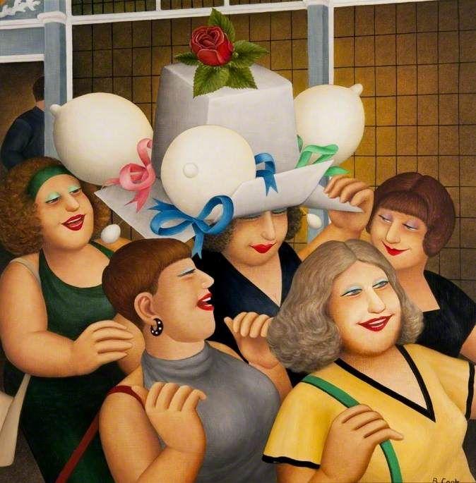 """Beryl Cook (British, 1926–2008)  """"Hen Party II"""""""