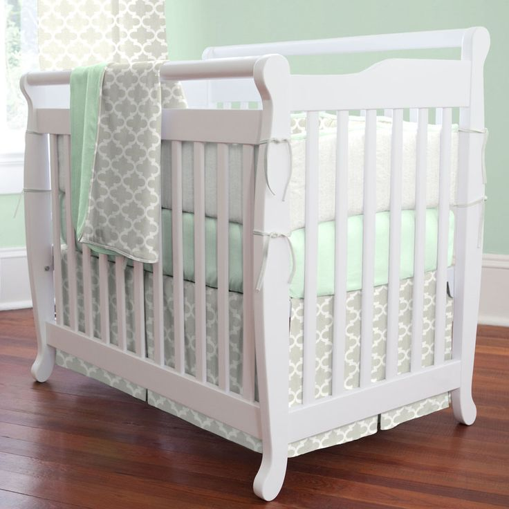 French Gray and Mint Quatrefoil Mini Crib Bedding | Carousel Designs