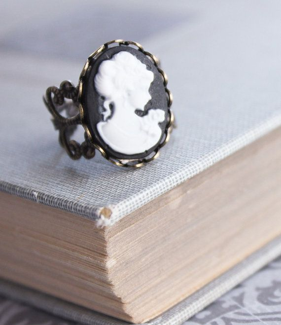 Cameo Ring Black and White Cameo Lady Face by apocketofposies, $19.00