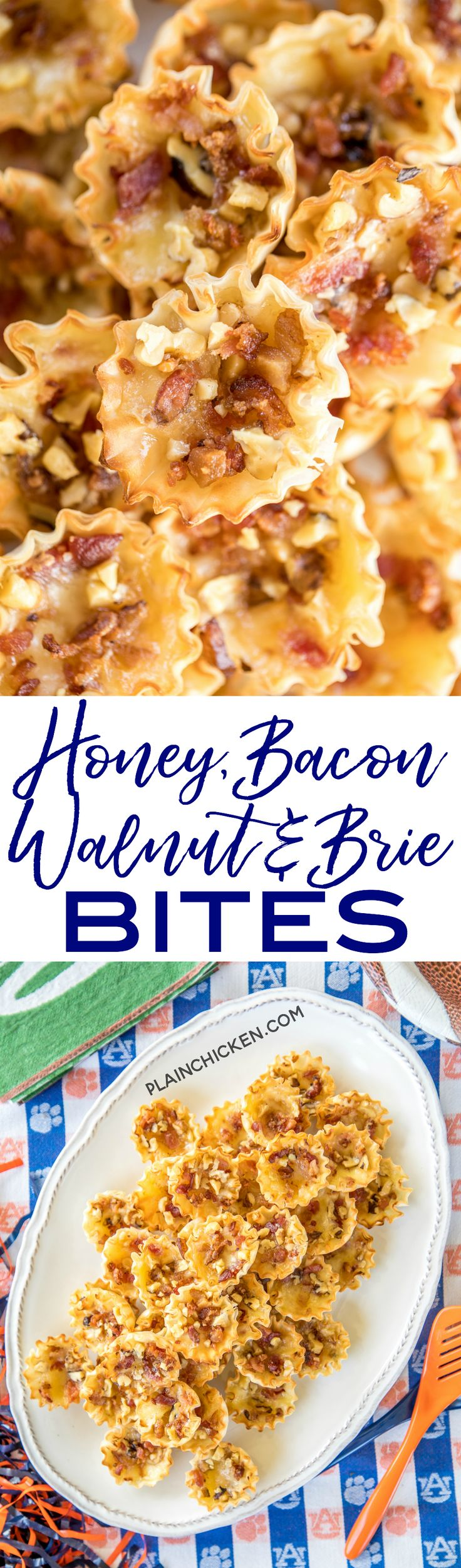 Honey Bacon Walnut and Brie Bites recipe - sweet and salty goodness!!! The flavor combination is totally addicting. Can make the bites ahead of time and refrigerate until ready to bake. Great for all your holiday parties and tailgating!! You might want to double the recipe - these cheese bites don't last long!! #appetizer #holidayappetizer #brie #cheese