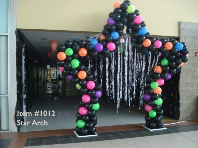 Stage or Entrance Star Shape Balloon Arch  Neon