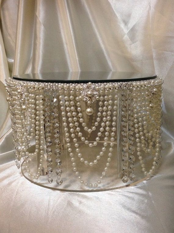 Vintage inspired Pearl & crystal design wedding cake stand  all sizes round and square