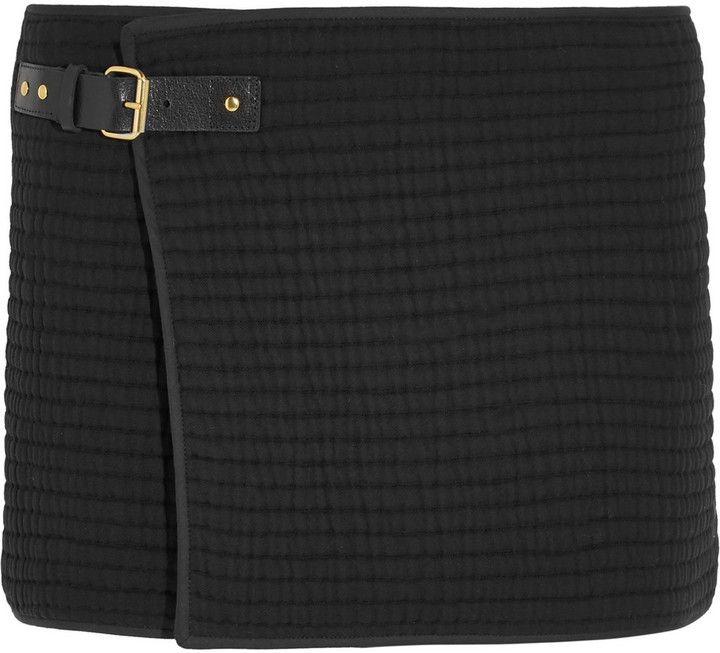 Isabel Marant Gael Wrap-Effect Cotton-Matelassé Mini Skirt