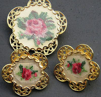 Vintage-ROSE-FLOWER-Embroidered-Petit-Point-Cross-Stitch-Brooch-Earrings-Set