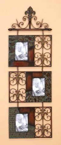 antique registers paired with black/bronzed frames, hung from picture rail or finial'ed curtain rod perfect for front hall/entry way family photos