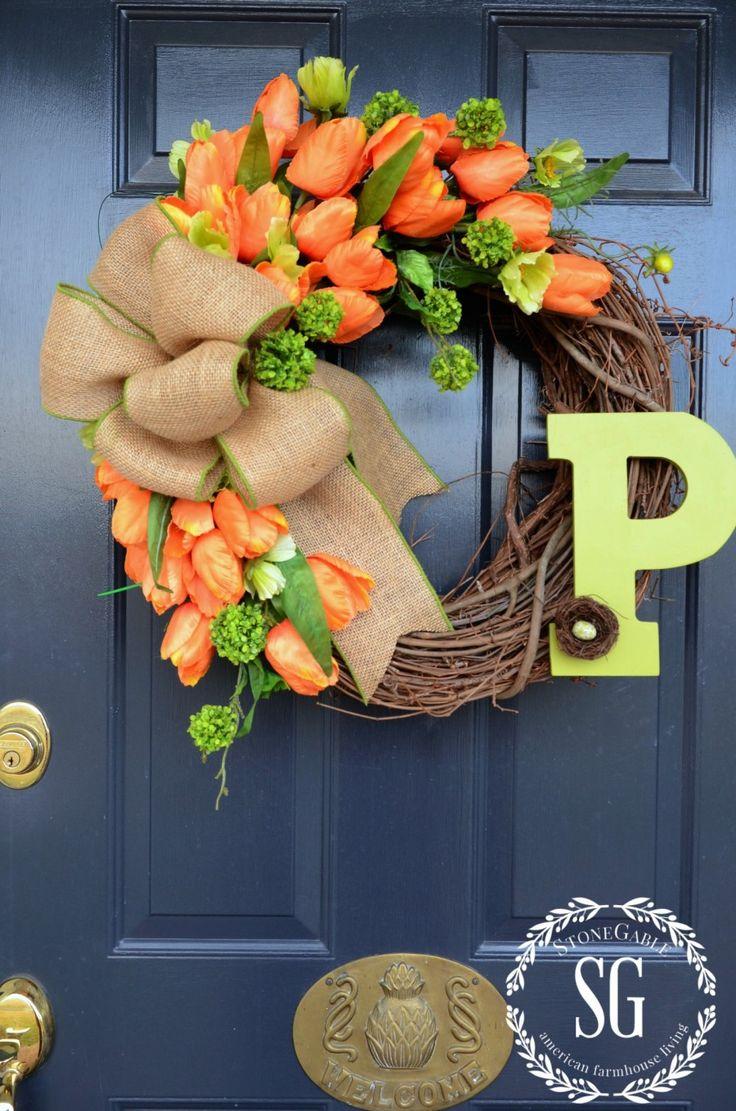 SPRING TULIP WREATH-tulips orange and green blooms-stonegableblog.com