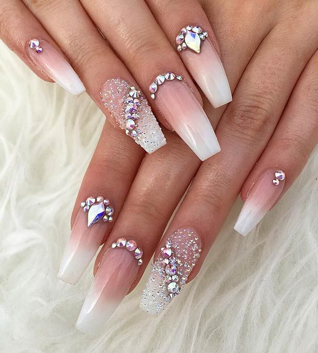 23 Glitzy Nails With Diamonds We Can T Stop Looking At Fashion Blog Rhinestone Nails Coffin Nails Designs Diamond Nails