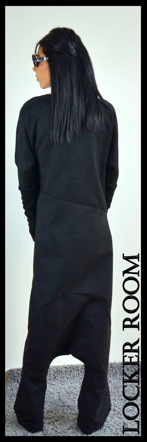 Losse zwarte jumpsuit wol zacht romper door ClothesByLockerRoom