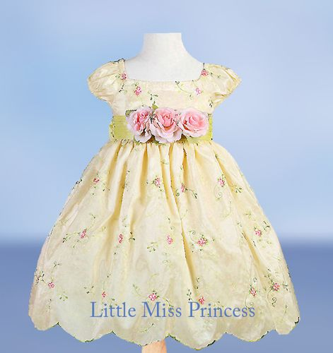 <3 Yellow Floral Easter Infant Dress - Baby Easter Dresses Little Miss Princess