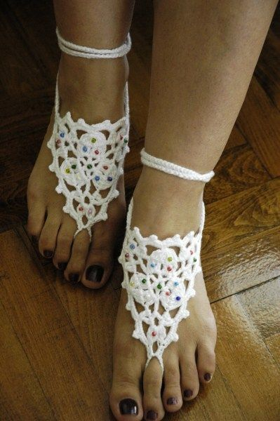 White Barefoot Sandals  with beads Pool Ladies Summer by anils, $17.50