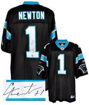 Cam Newton signed Carolina Panthers Black Reebok Premier EQT Jersey- Newton Hologram . $415.53. Cam Newton became just the third player in major college football history to pass for 20 touchdowns and rush for 20 touchdowns in a single season. On December 11, 2010, he was awarded the Heisman Trophy as the most outstanding college football player. Drafted # 1 by the Carolina Panthers in the 2011 NFL Draft. In his NFL debut, Newton became the first rookie quarterback in NFL hist...
