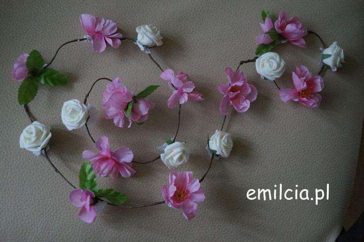 Girlanda kwiatowa Ozdoby Ozdoba do włosów Ślub, I komunia Św., Bal, Studniówka, Wedding Girlanda kwiatowa ozdoba do włosów 110 cm