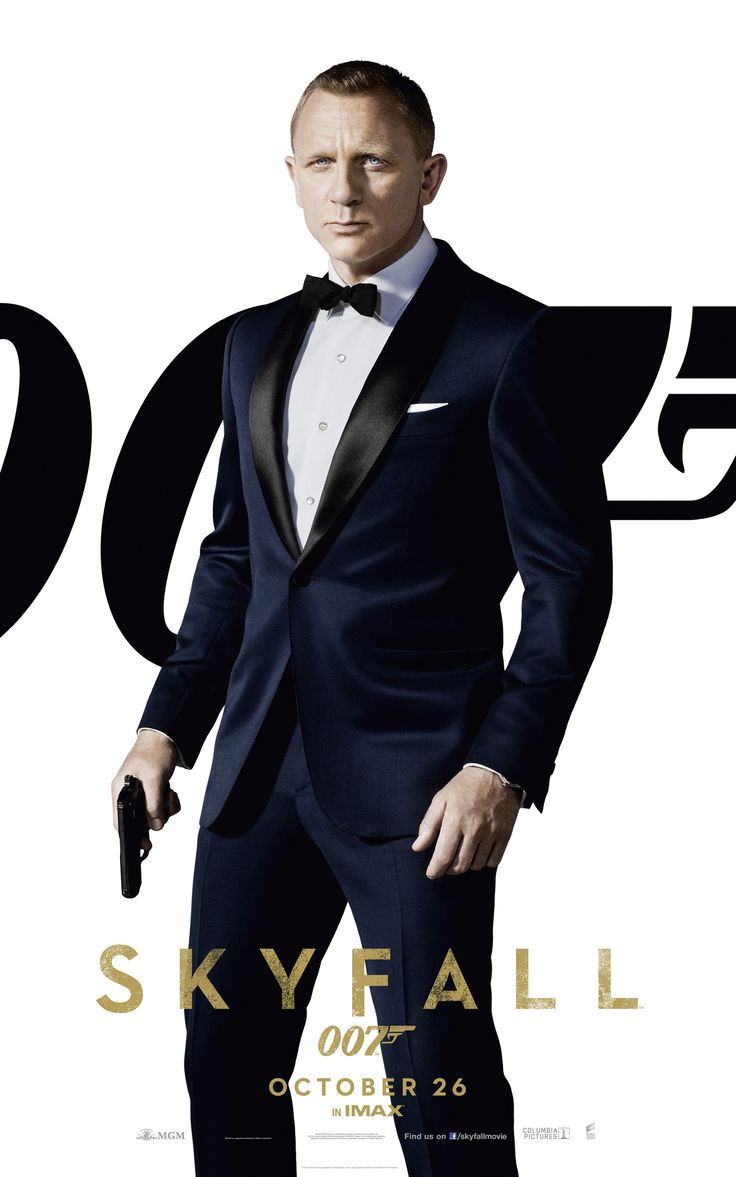One of 4 individual 'Skyfall' cinema UK posters with Dan looking sharp in suit.