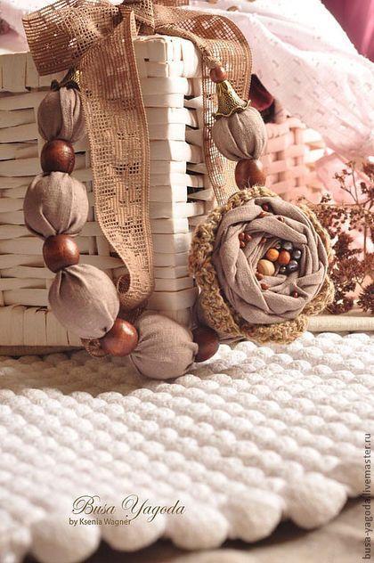 """Колье, бусы ручной работы. Ярмарка Мастеров - ручная работа. Купить Бусы """"Сухоцветы"""". Handmade. Бежевый, текстильные бусы"""