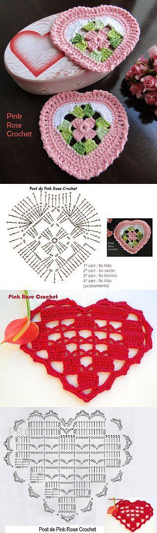 Сердечки крючком от Pink Rose Crochet..