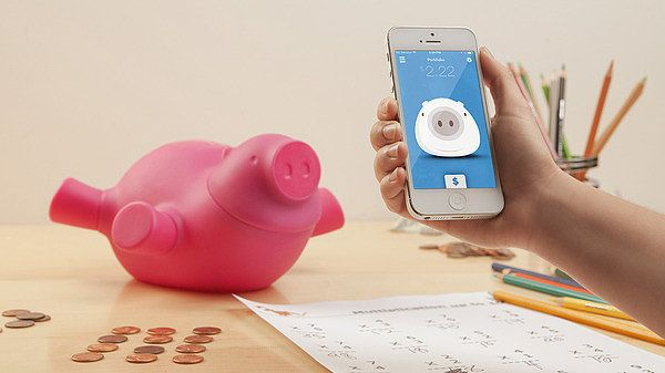 Porkfolio ($50) is a smart piggy bank that wirelessly connects to mobile devices so you can track your change balance from wherever you are.