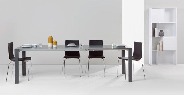 ausziehbarer quadratischer esstisch in weiß bramante ausziehbarer ...