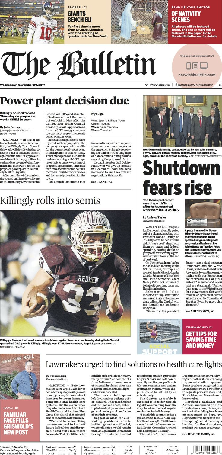 Wednesday, November 29, 2017 - Subscribe to The Bulletin today: http://www.norwichbulletin.com #ctnews #newlondoncounty #windhamcounty