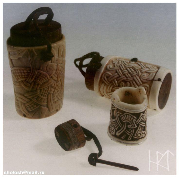 Viking styles carved bone and antler salt boxes.  Carved salt boxes by Sholosh.deviantart.com on @deviantART