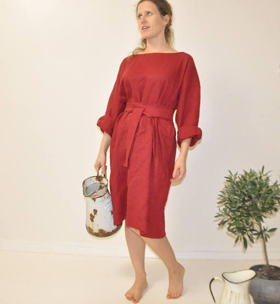 4c11a34d49 Linen dress Warm linen loose fitting dress oversized loose fitting ...