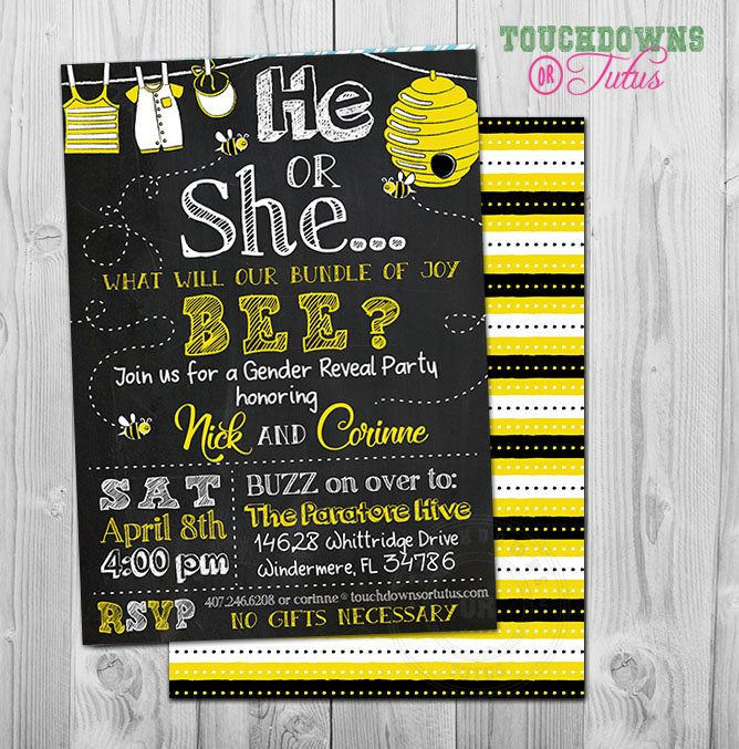 Bee Gender Reveal Invitation Printable What Will It Be Beegenderreveal Whatwillitbee