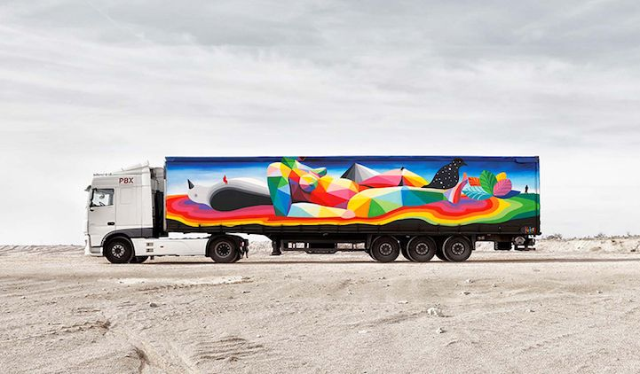 Art on a freight truck. By the Truck Art Project transforming large vehicles into mobile galleries, Spain. Art by Okuda San Miguel.
