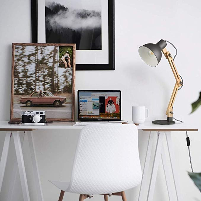 Amazon Com Tomons Swing Arm Led Desk Lamp Wood Designer Table Lamp Reading Lights For Living Room Bedroom In 2020 Table Lamp Design Desk Lamp Bedside Night Stands