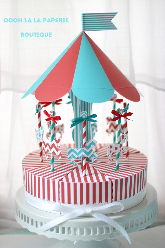 Bright and Cheery Merry-Go-Round Favor Box Centerpiece Set on Etsy, $40.00
