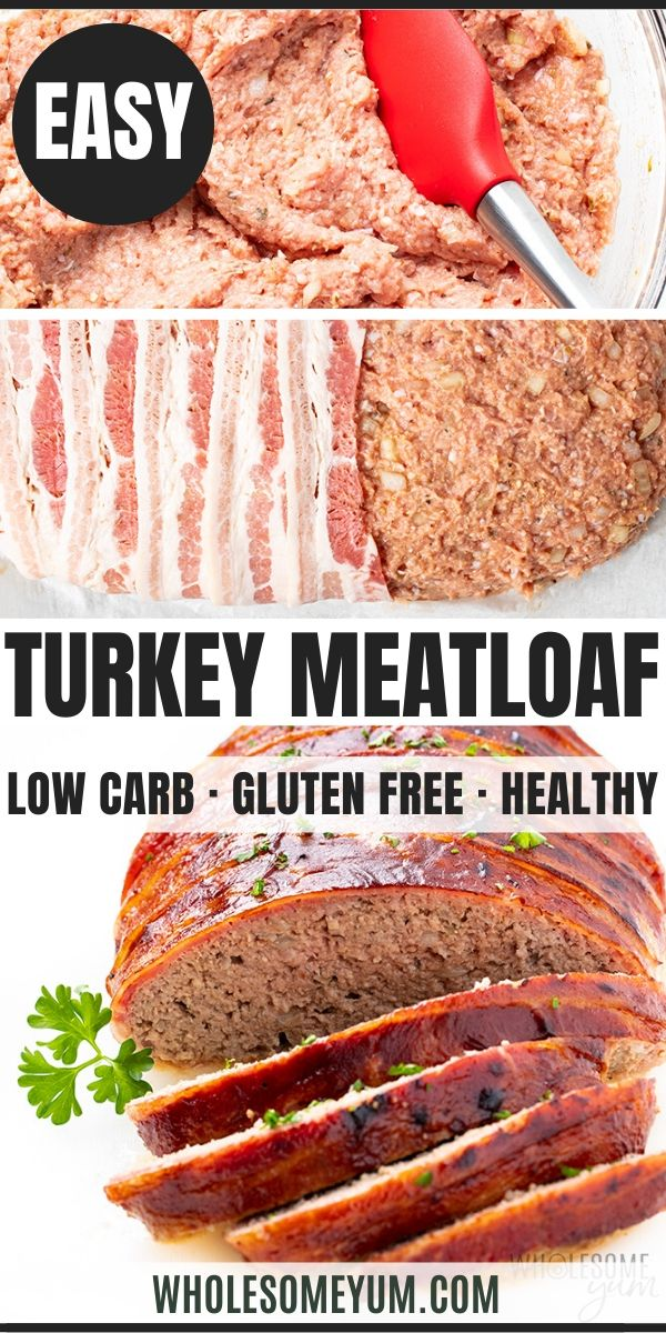 Bacon Wrapped Low Carb Keto Turkey Meatloaf Recipe In 2020 Turkey Meatloaf Recipes Turkey Meatloaf Chicken Bacon Recipes