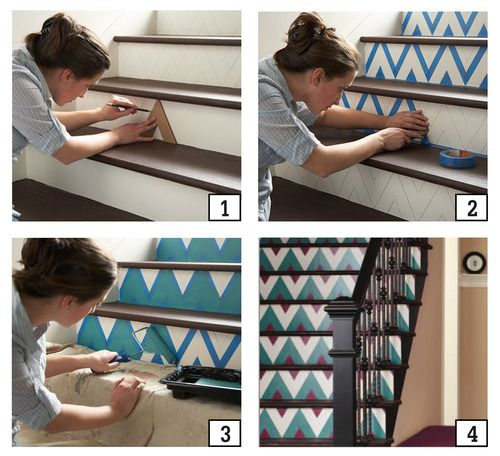 Step 1: Create a cardboard stencil using a ruler and the measurements you feel comfortable with. The thicker the chevron, the bolder the print!    Step 2: Once you have decided on the width of your design, draw out a triangle on cardboard, and cut it out with an X-acto knife.    Step 3: Trace your cut-out stencil with a pencil along the stairs.    Step 4: Use painter's tape to tape of the inside of the triangle.    Step 5: Paint away!