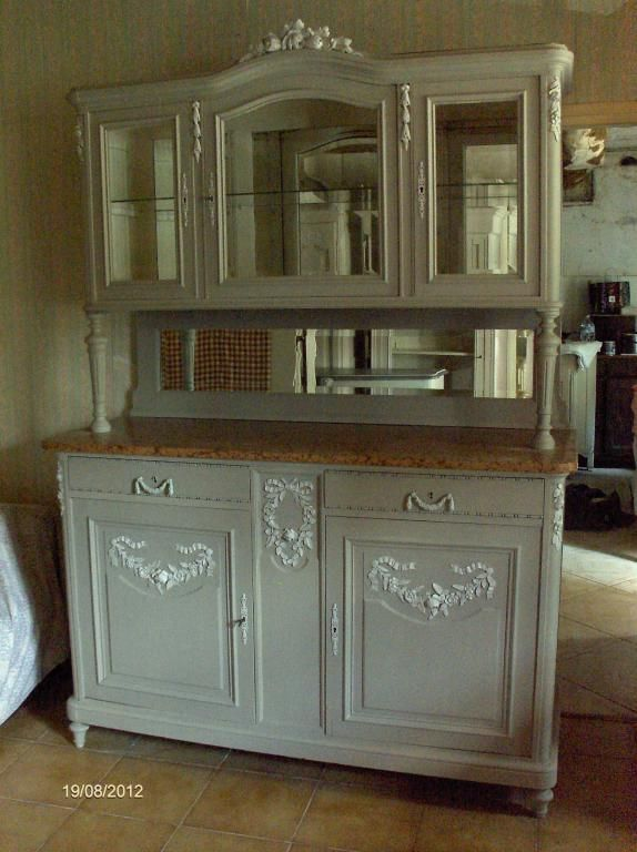 Buffet vaisselier patine ancien style louis xvi louis for Kitchen cabinet trends 2018 combined with papier imprime