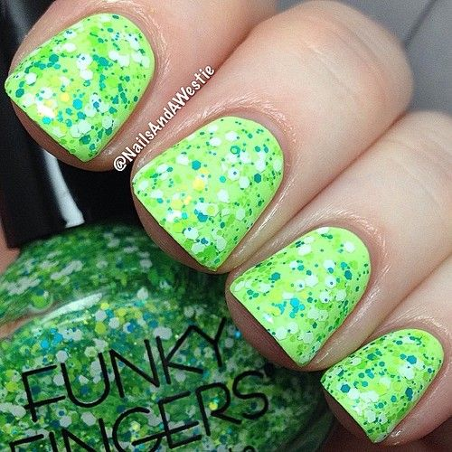 Funky Fingers 'Glitter Explains It All' - 1 coat over China Glaze 'Grass Is Lime Greener' + topcoat.